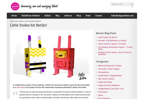 Article on inkygoodness. UK creatives website.